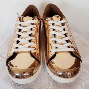 NEW shiny copper/rose gold sneakers